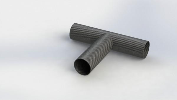 Carbon Rohr T-Verbinder